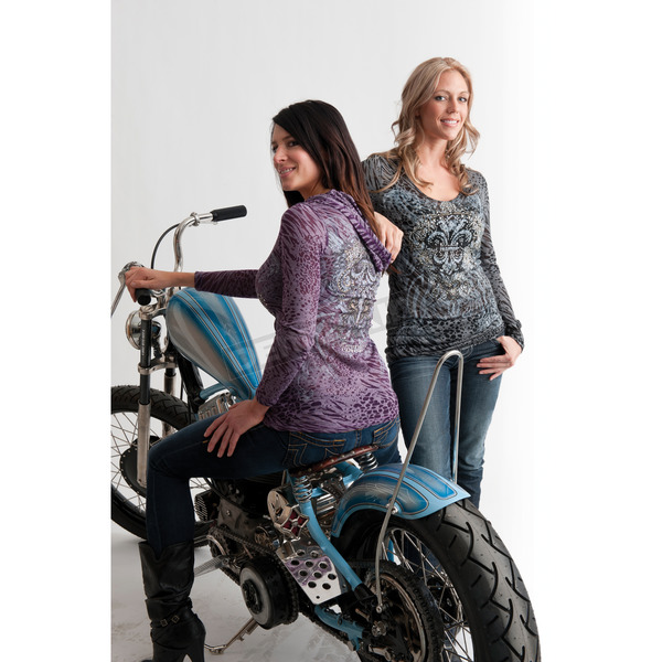 Easyriders Roadware Womens Purple Cats Meow Long Sleeve Hooded Shirt - 3179L