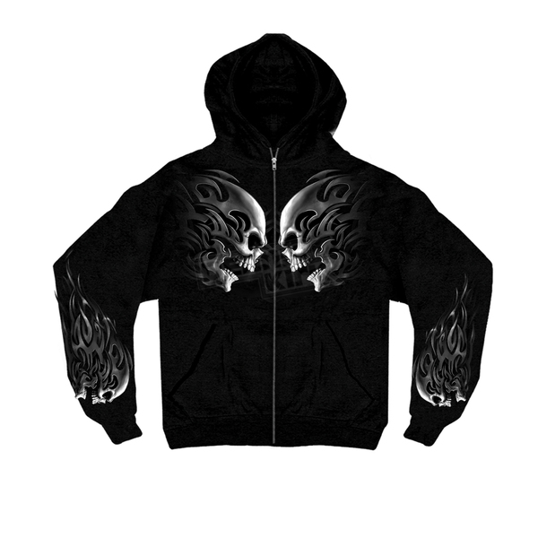 Hot Leathers Tribal Skulls Zip Hoody - GMZ4105M