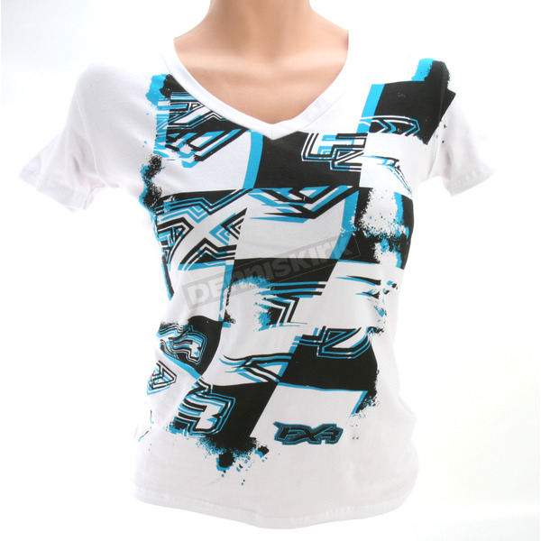 FXR Racing Womens White/Turquoise Chop T-Shirt - 2635