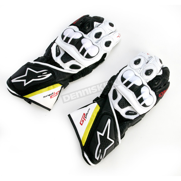 Alpinestars Black/White/Flourescent Yellow/Red GP Plus Leather Glove - 3556513-1053-L