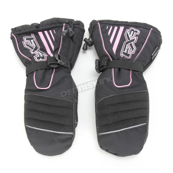 FXR Racing Womens Black/Pink Fuel Mitts - 2813.90307