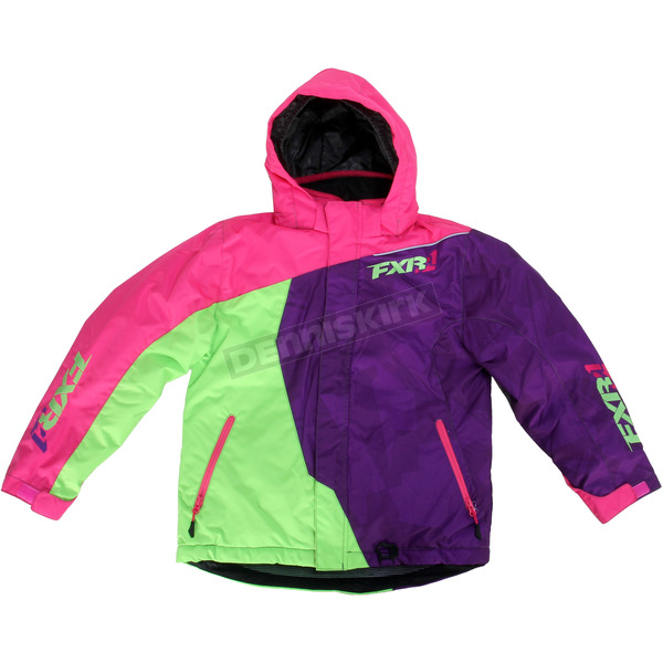 FXR Racing Youth Fuchsia/Purple/Lime Vertical Jacket - 15308.90014