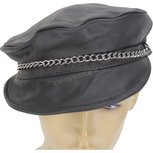 Milwaukee Motorcycle Clothing Co. Black Leather Riding Cap - 129