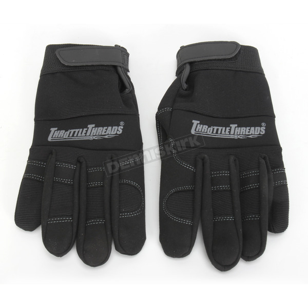 Throttle Threads Black Mechanics Gloves - TT423G14BKMR