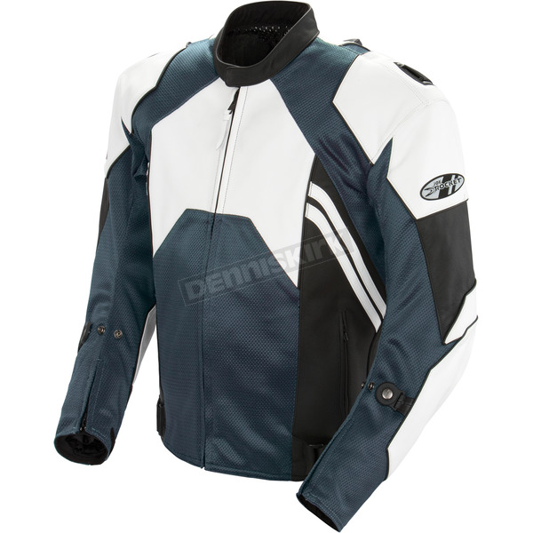 Joe Rocket White/Gunmetal Radar Leather Jacket - 1052-1742