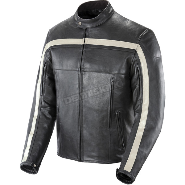 Joe Rocket Black/Ivory Old School Leather Jacket - 1052-2005