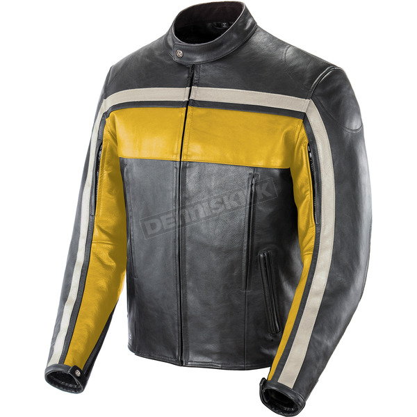 Joe Rocket Yellow/Black/Ivory Old School Leather Jacket - 1052-2402