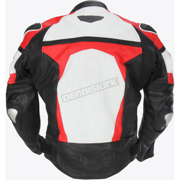 Cortech Red/White/Black Adrenaline Leather Jacket - 8971-0101-07