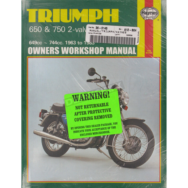 Haynes Triumph Motorcycle Repair Manual  - 122