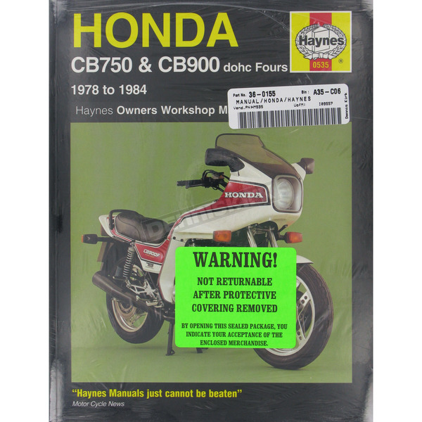 Haynes Honda CB700/CB900 Repair Manual  - 535