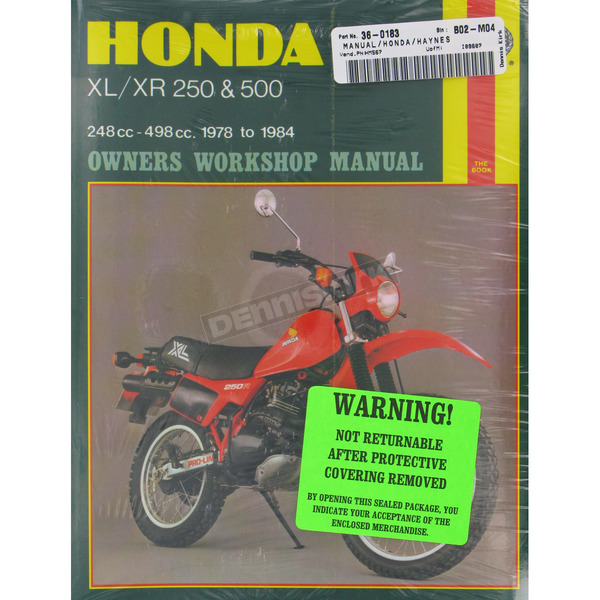 Haynes Honda Repair Manual - 567