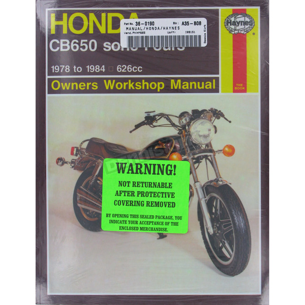 Haynes Honda CB650 Repair Manual  - 665