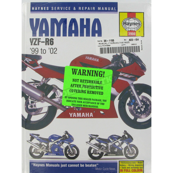 Haynes Yamaha YZF-R6 Repair Manual - 3900