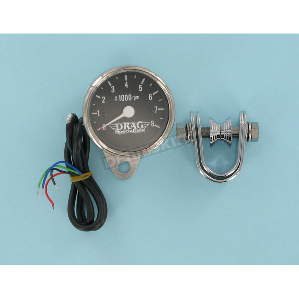 Drag Specialties Electrical Mini 8000 RPM Tachometer w/Black Face - 2211-0057