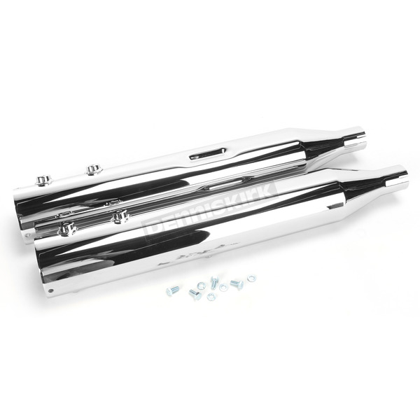 Rush Racing Products 4 in. Big Louie Tip Compatible Slip-On Mufflers w/2 in. Baffle - 32005-200