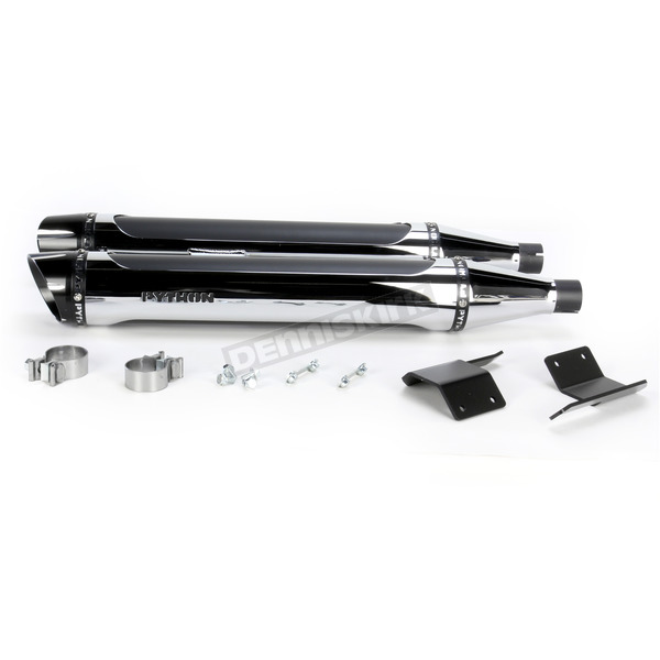 Python Chrome Rayzer Slip-On Mufflers with Chrome Heat Shields - 1801-0744
