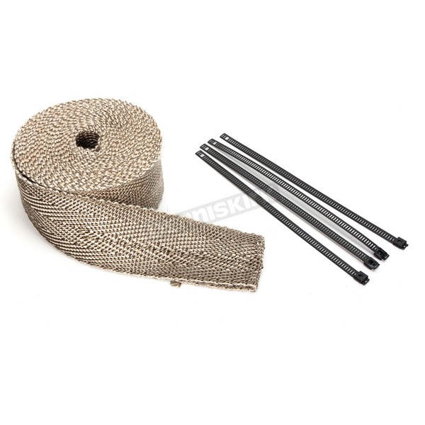 Cycle Performance Natural/Metallic 2 in. X 25 ft. Exhaust Pipe Wrap W/ Black Tie Wraps - CPP/9065BL