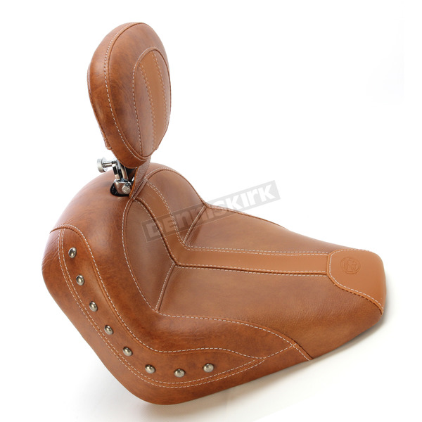 Mustang Seats Brown Vinyl Solo Seat w/Brown Leather Inserts, Driver's Backrest and Nickel Studs - 79528