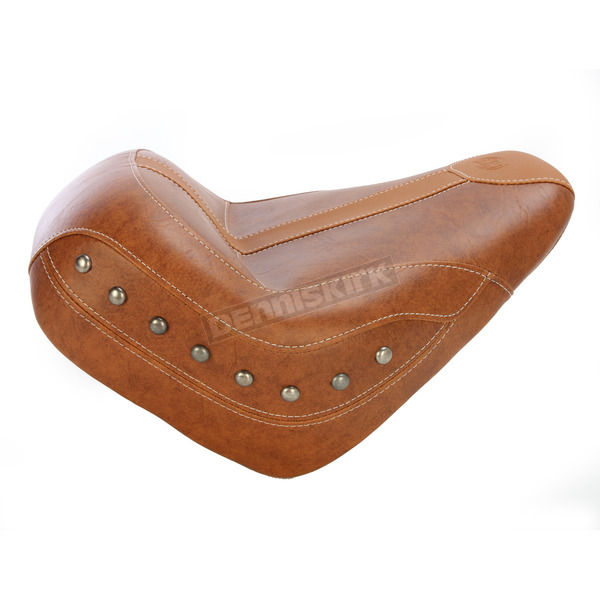 Mustang Seats Brown Vinyl Vintage Solo Seat w/Brown Leather Inserts and Nickel Studs - 75391