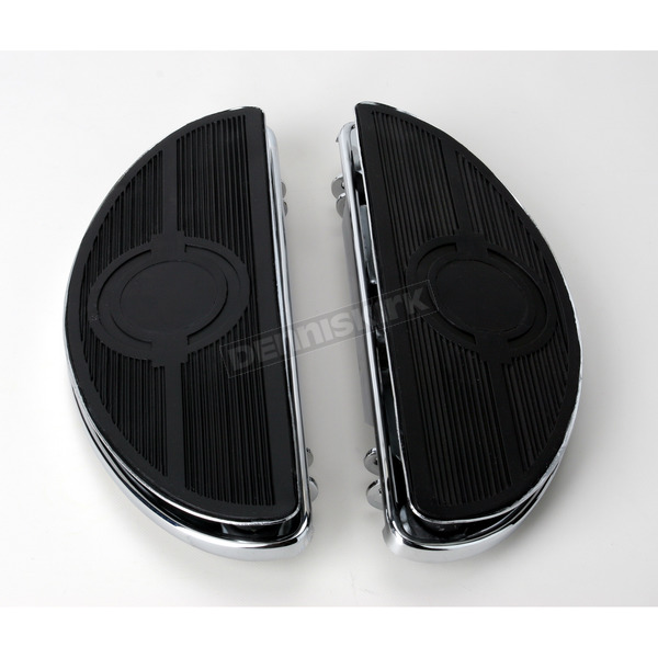 Drag Specialties Chrome Half-Moon Floorboards w/Vibration Inserts - 1621-0160