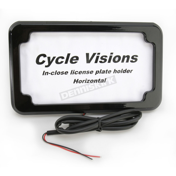 Cycle Visions Black In-Close Horizontal License Plate Holder - CV4601BLH