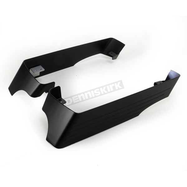 CycleSmiths Flat Black 3 in. Billet Saddlebag Extensions w/Cutouts for Dual Exhaust  - 200-SB-14