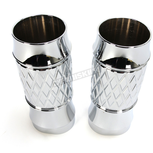 Thunder Cycle Designs Chrome Platinum Cut +2 Fork Slider Covers - TC-965