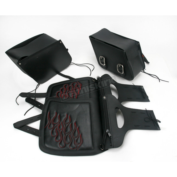 Saddlemen Medium Dark Red Highwayman Tattoo Saddlebags - X021-05-0405