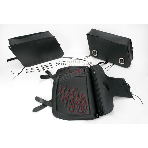 Saddlemen Dark Red Jumbo Highwayman Tattoo Saddlebags - X021-05-0425
