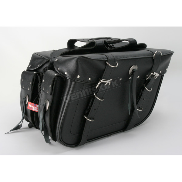 All American Rider Rivet Box Style Slant Saddlebags - 9086RP