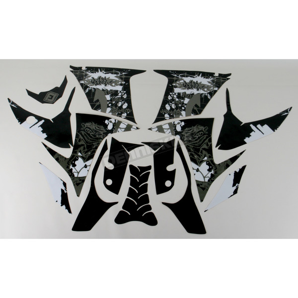 FLU Designs Sport Bike Series 1 Black/White Graphic Kit - 60306