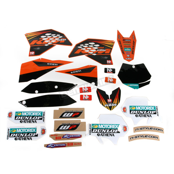 N-Style Black 12 Factory KTM Race Team Graphics Kit w/Seat Cover - N405641