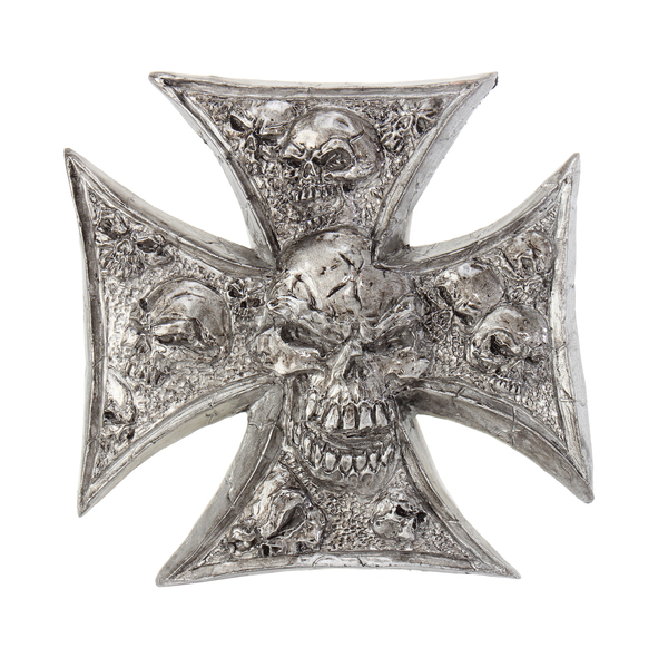 Lethal Threat Iron Cross Skulls Stick-On Emblem - LT88679