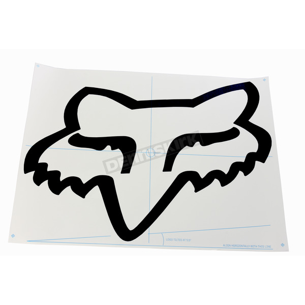 Fox Black 28  in. Fox Head TDC Sticker - 03267-001-OS