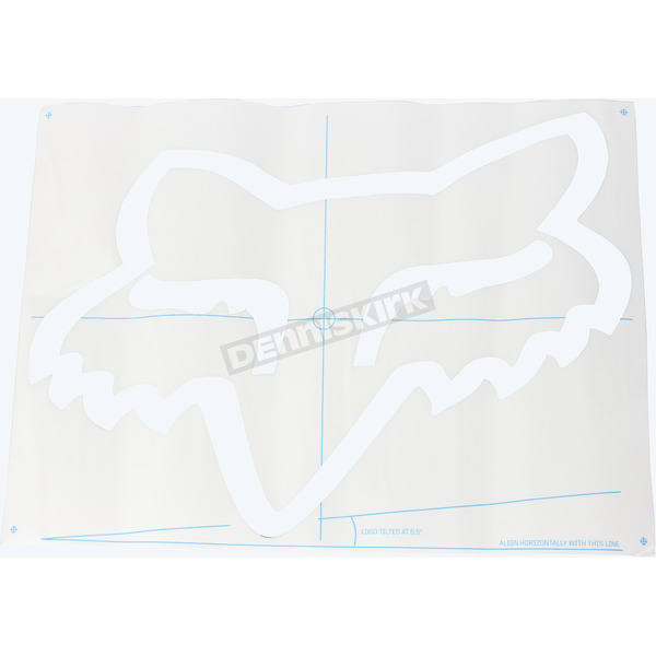 White 18  in. Fox Head TDC Sticker - 03268-008-OS