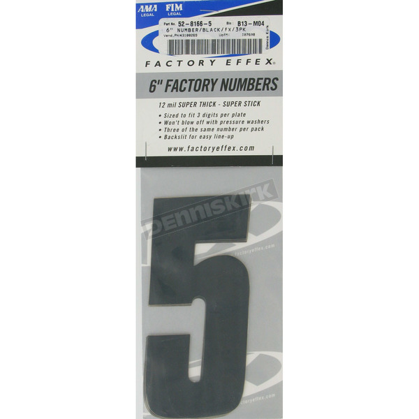 Factory Effex Factory 6 in. Numbers - #5 - FX08-90045
