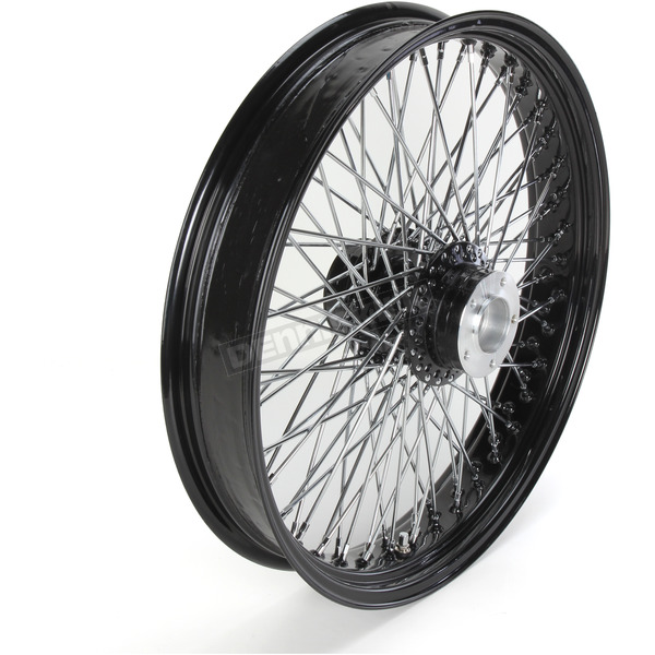 Paughco 21 in. x 3.5 in. Black 80-Spoke Front Wheel Assembly w/Round Spokes - 16-121