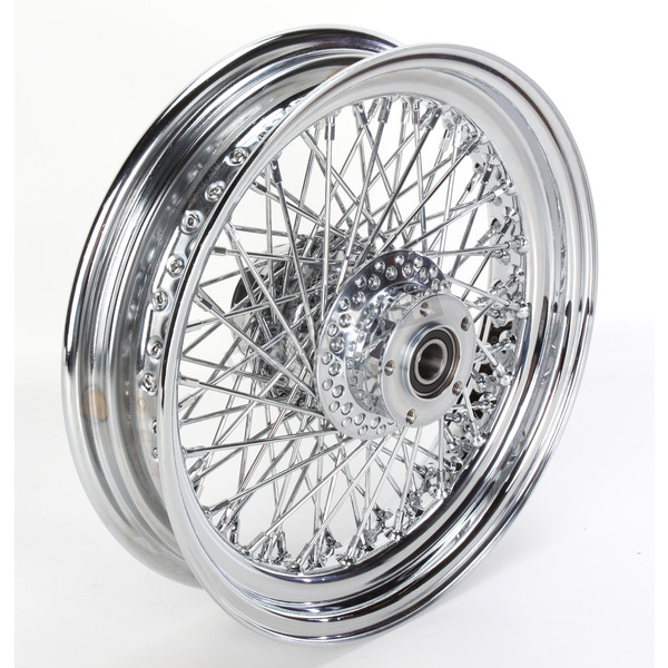 Paughco 16 in. x 3.50 in. Chrome 80-Spoke Rear Wheel Assembly w/Round Spokes - 06-181