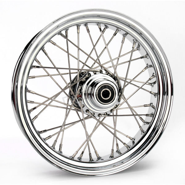 Drag Specialties Chrome 16 x 3.5 40-Spoke Laced Wheel Assembly for Single Disc - 0203-0060