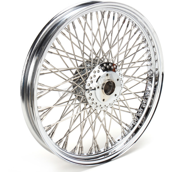 Drag Specialties Chrome 19 x 2.15 80-Spoke Laced Wheel Assembly for Single or Dual Disc - 0203-0083