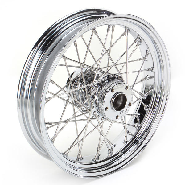 Drag Specialties Chrome 16 x 3.5 40-Spoke Laced Wheel Assembly  - 0204-0070