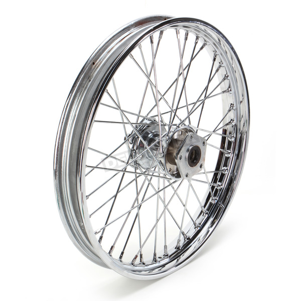 Drag Specialties Chrome Front 21 x 2.15 40-Spoke Laced Wheel Assembly  - 0203-0410
