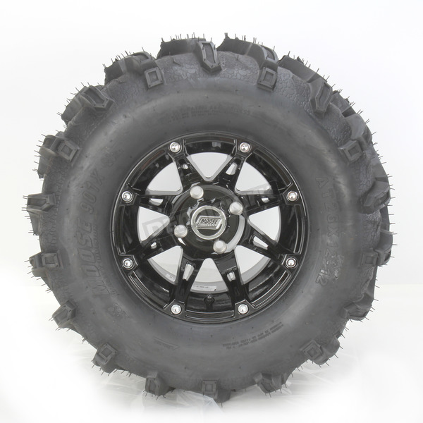 Moose Rear Right Gloss Black 387X Tire/Wheel Kit - 0331-1166