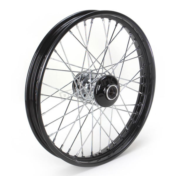Paughco 21 in. x 2.15 in. Front Lace Black Powder-Coated 40-Spoke Wheel Assembly - 231-S40FB