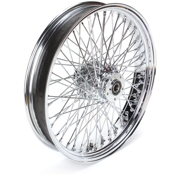 Paughco 21 in. x 3.5 in. Chrome 80-Spoke Front Wheel Assembly w/Round Spokes - 06-109