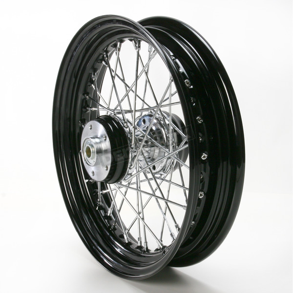 Paughco 16 in. x 3 in. Rear Lace Black Powder-Coated 40-Spoke Wheel Assembly - 225-S40RB