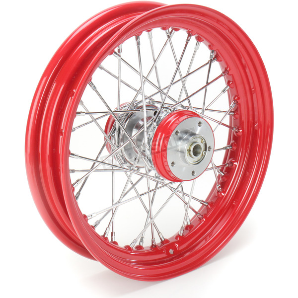 Paughco 16 in. x 3 in. Rear Lace Red Powder-Coated 40-Spoke Wheel Assembly - 225-S40RR