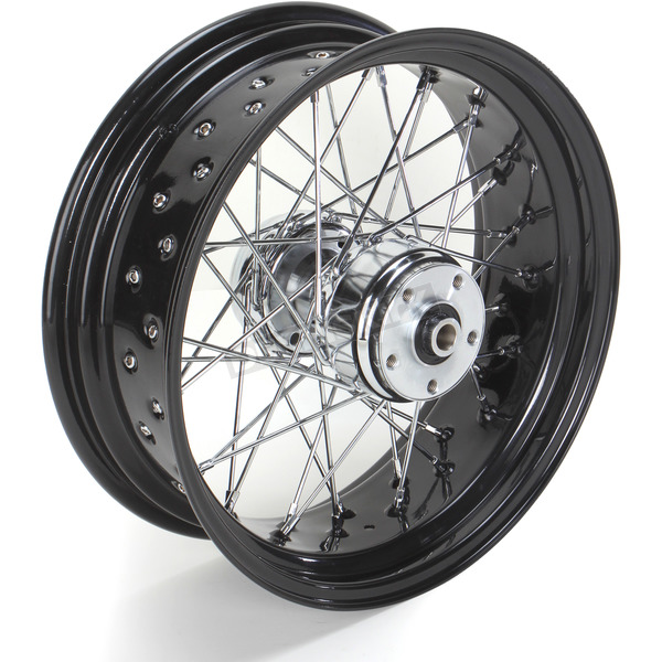 Paughco 16 in. x 5.5 in. Rear Lace Black Powder-Coated 40-Spoke Wheel Assembly - 226-S40RB