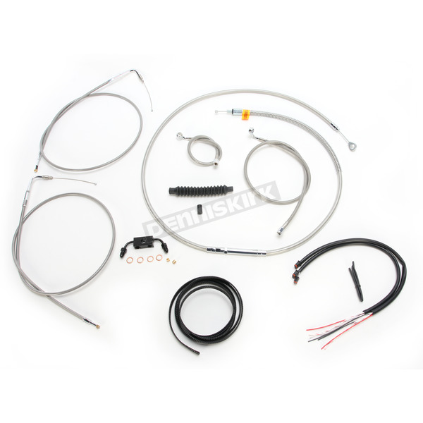 LA Choppers Complete Braided Stainless Cable/Brake Line Kit w/ABS For Use w/15
