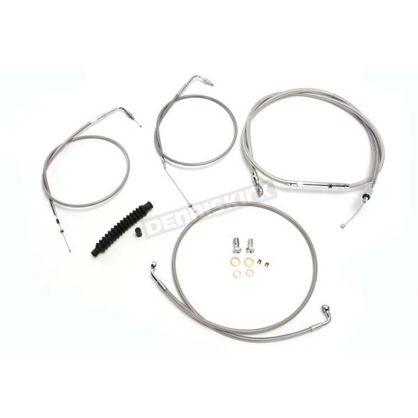 LA Choppers Stainless Braided Handlebar Cable and Brake Line Kit for Use w/OEM Handlebars - LA-8110KT-00